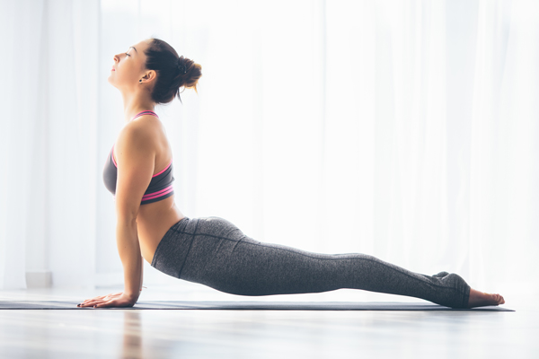 woman stretching showing body contours