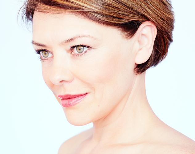 woman smiling showing facial contours
